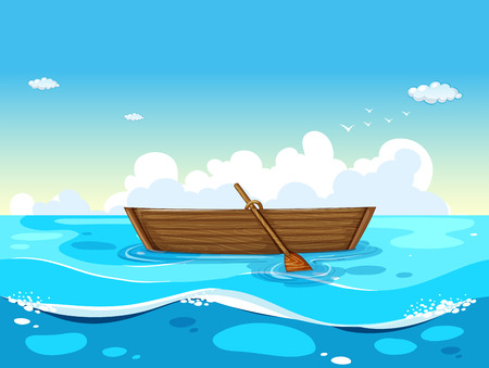 illustration of a boat floating on the sea