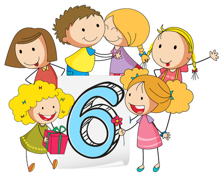knowledge clipart: illustration of a flashcard number six Illustration