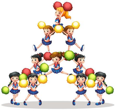 cheerleading: illustration of many cheerleaders