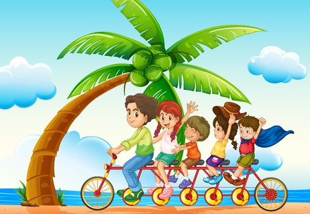 family picture: illustration of a family riding bicycle