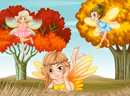 illustration of many fairies in the forest Vector