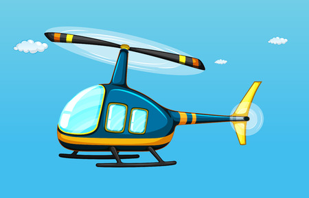 helicopter rescue: illustration of a helicopter flying in the sky
