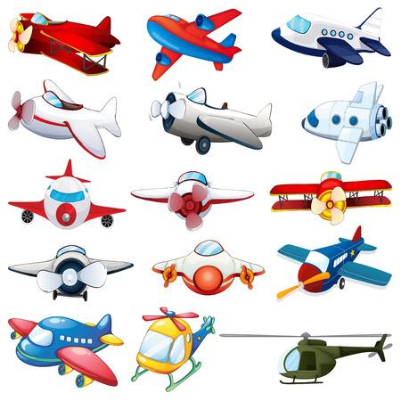 Illustration der verschiedenen Arten von Flugzeugen