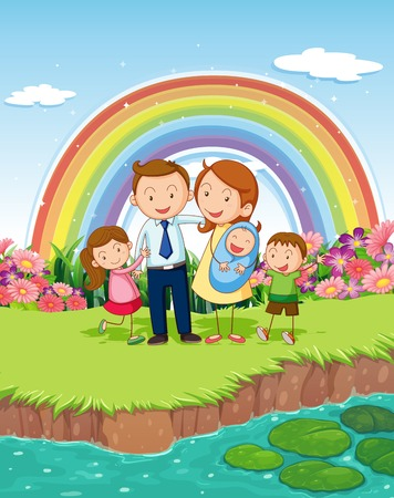 river bank: illustration of a family standing by the river bank