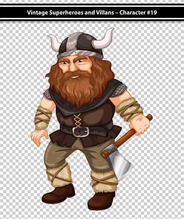 illustration of a male viking with an axe Vector