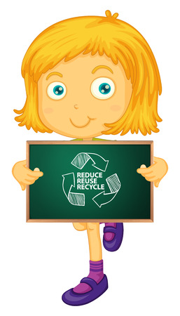 illustration of a girl holding a recycle sign Vector