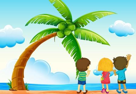 cartoon beach: illustration of children on the beach