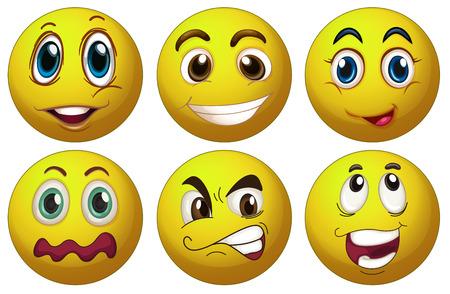 gezichts uitdrukkingen: illustratie van gezichtsuitdrukkingen