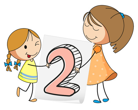 numbers: illustration of a flashcard number two