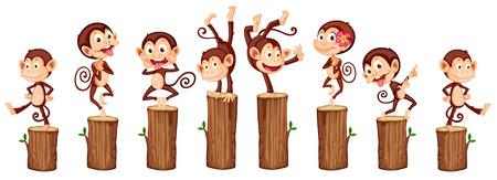 illustratie van vele apen op de log