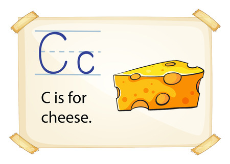 phonetic: illustration of a flashcard letter C for cheese Illustration