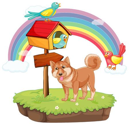 Illustration of a dog on an island Vector