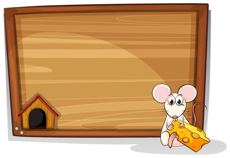 illustration of a mouse eating cheese Vector