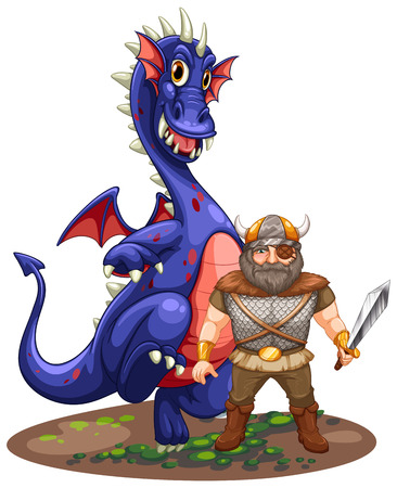Illustration of viking and dragon on white Vector