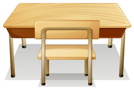 chair cartoon: illustration of a desk and a chair