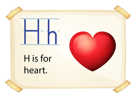 phonetic: illustration of a flashcard letter H for heart