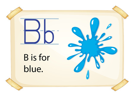 phonetic: illustration of a flashcard letter B for blue