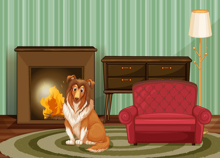 cartoon fireplace: illustration of  a dog sitting in the living room Illustration