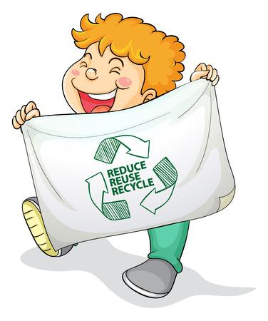niños reciclando: ilustración de un niño con el signo de reciclaje