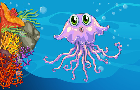 jelly fish: Illustration of jellyfish underwater