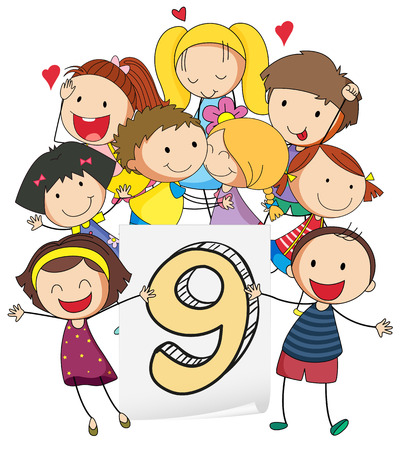 knowledge clipart: illustration of a flashcard number nine