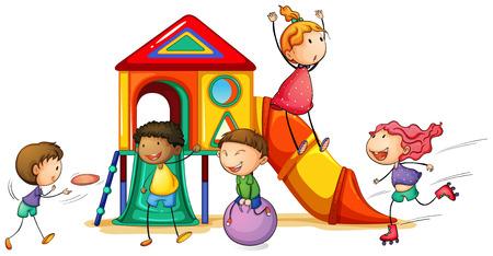 niños jugando: ilustración de los niños y una casa de juegos