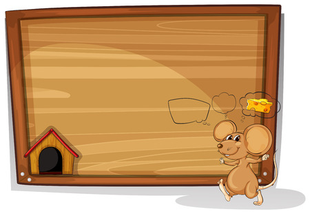 Illustration of mouse and wooden sign Vector