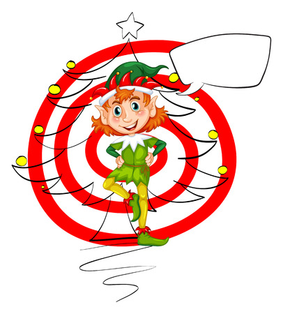 illustration of an elf with christmas tree Vector