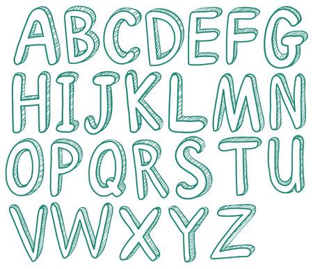 phonetic: Illustration of sketched letters font Illustration