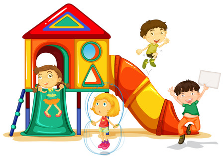 jumping: illustration of many children playing on a slide