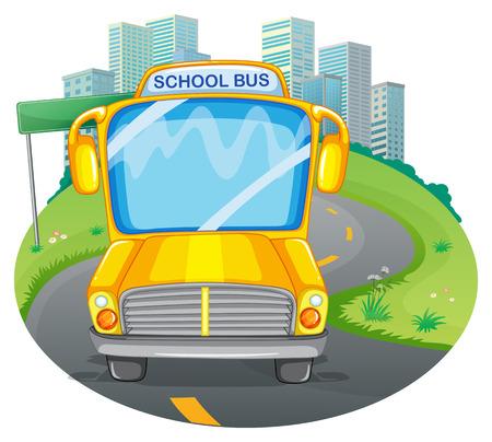 cartoon transportation: illustration of a school bus in a park