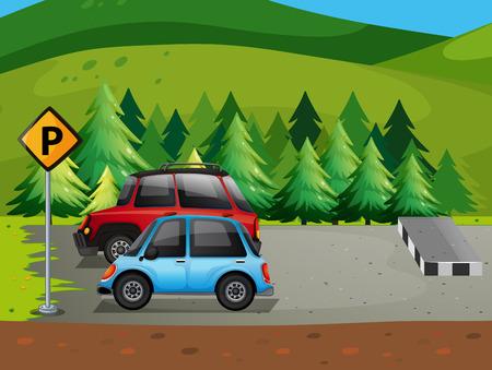 carro caricatura: ilustración de coches de aparcamiento en el estacionamiento