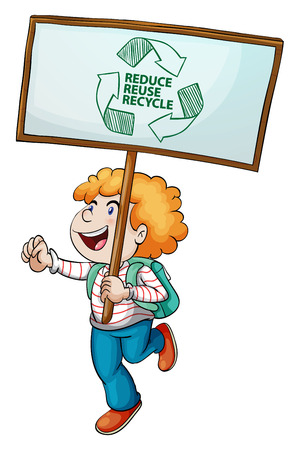 illustration of a boy holding a recycling sign Vector