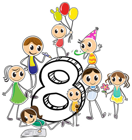 knowledge clipart: Illustration of the number eight Illustration