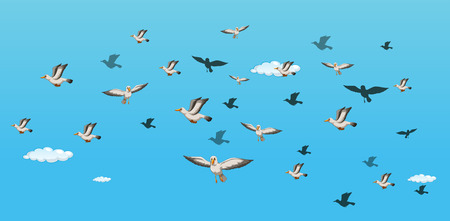 illustration of many birds flying in the sky Vector