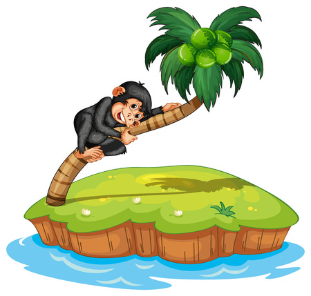scratching: illustration of a monkey on an island Illustration