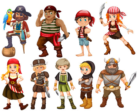 warriors: illustration of a set of different warriors