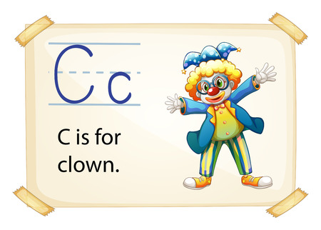 phonetic: illustration of a flashcard letter C for clown