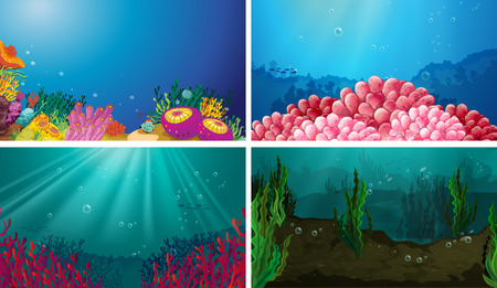 Illustration of underwater scene set Vector