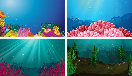 Illustration of underwater scene set Illustration