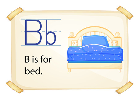 illustration of a flashcard letter B for bed Vector