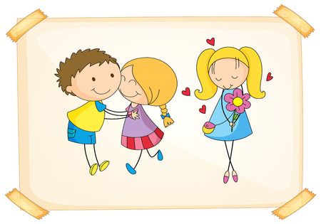 illustration of a boy and a girl hugging Vector