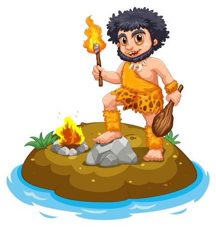 illustration of a caveman and fire Vector