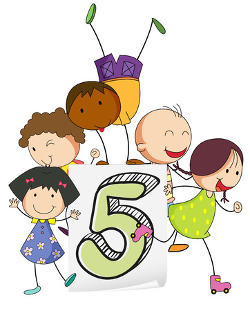 numbers clipart: Illustration of kids playing five
