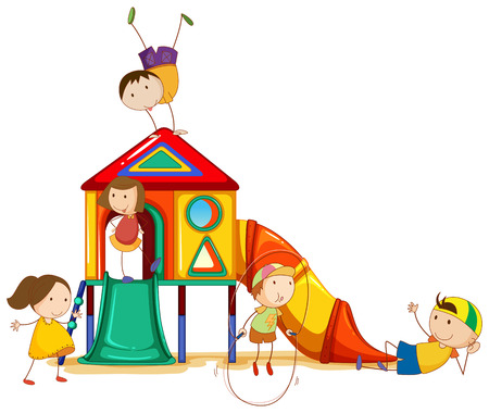 illustration of children and a playhouse Vector