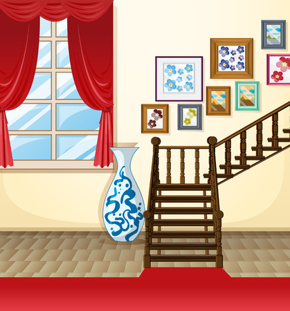 interior design living room: illustration of a room with stairs Illustration