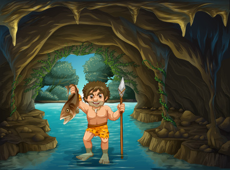 illustration of a caveman catching fish Vector