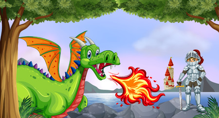 flying dragon: Illustration of a knight and dragon