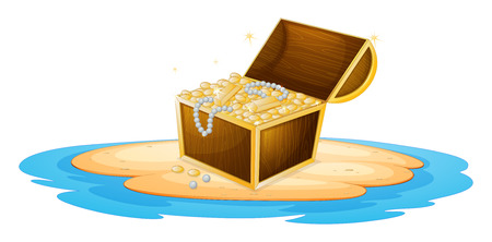 saltwater pearl: Illustration of a treasure chest
