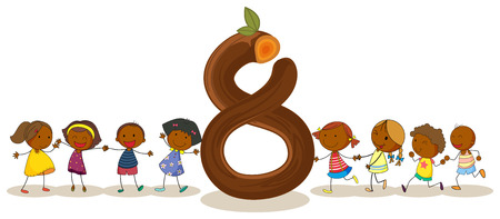 numbers counting: Illustration of the number eight Illustration